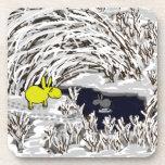burros en invierno posavaso