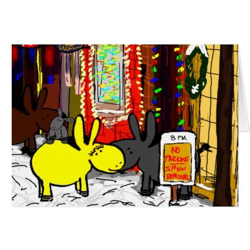 burros en nieve en concordia tarjeta de felicitación