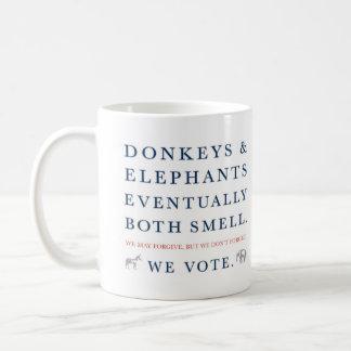 Burros y elefantes taza de café