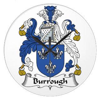 Burrough Family Crest Wall Clock
