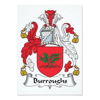 Burroughs Family Crest 5x7 Paper Invitation Card