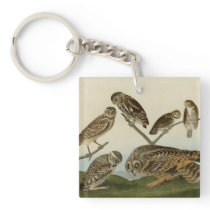 Burrowing, Night, Columbian, and Short-Eared Owls Keychain