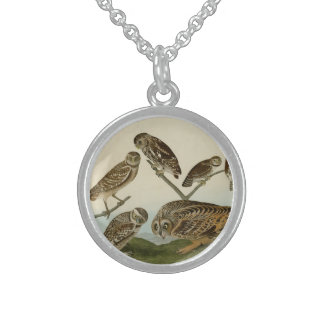 Burrowing, Night, Columbian, and Short-Eared Owls Round Pendant Necklace