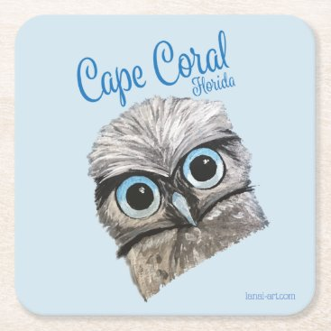 Beach Themed Burrowing Owl Coastal Art Cape Coral Florida Square Paper Coaster