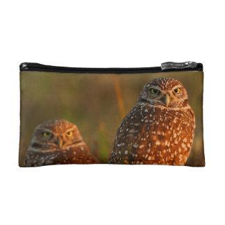 burrowing owl couple makeup bag