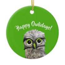 Burrowing Owl Holidays Ceramic Ornament