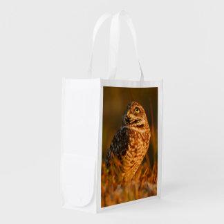 burrowing owl reusable grocery bag