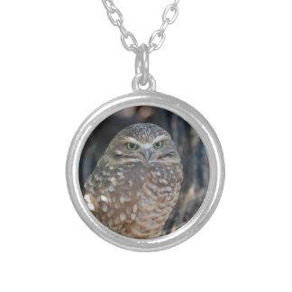 Burrowing Owl Round Pendant Necklace