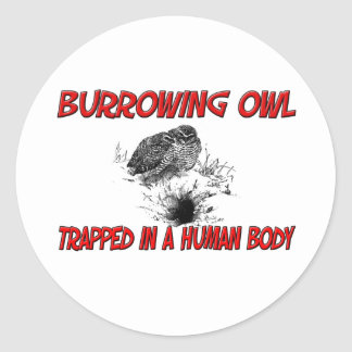 Burrowing Owl trapped in a human body Stickers