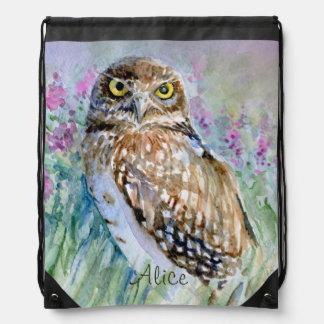 Burrowing owl watercolor drawstring bag