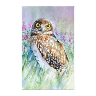 Burrowing owl Watercolor painting Canvas Print