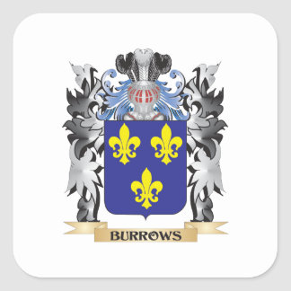 Burrows Coat of Arms - Family Crest Square Sticker