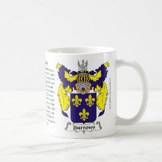 Burrows, the Origin, the Meaning and the Crest Coffee Mug