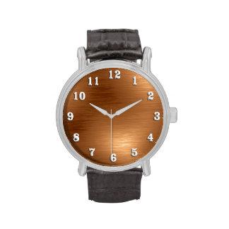 Burshed Copper Metallic Design Watch