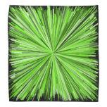 [ Thumbnail: Burst of Green Lines Pattern (Black Background) Bandana ]