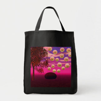 Burst of Joy – Abstract Magenta & Gold Inspiration Grocery Tote Bag