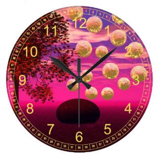 Burst of Joy – Abstract Magenta & Gold Inspiration Clock