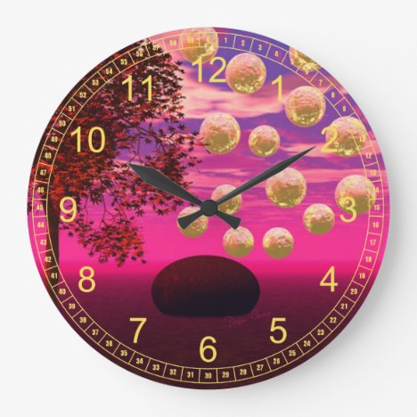 Burst of Joy – Abstract Magenta & Gold Inspiration Large Clock