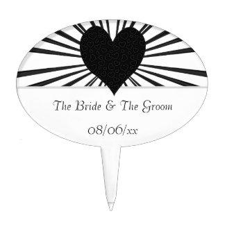 Burst Of Love (Black) (Wedding) Cake Topper