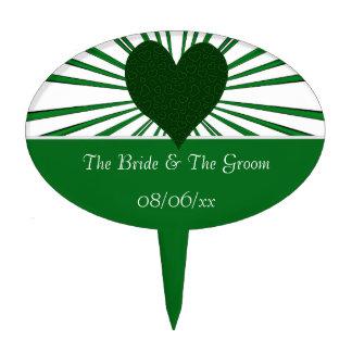 Burst Of Love (Green2) (Wedding) Cake Topper