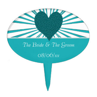 Burst Of Love (Light Blue2) (Wedding) Cake Topper