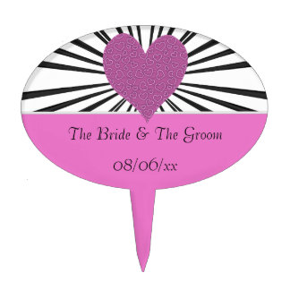 Burst Of Love (Pink on Black2) (Wedding) Cake Topper