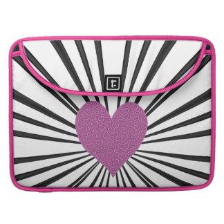 Burst Of Love (Pink on Black) Sleeve For MacBooks