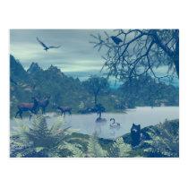 wildlife, deer, doe, wolf, wolves, bird, birds, nature, swan, swans, deers, raven, ravens, scenery, sceneries, water, creek, river, lake, pond, wild, eagle, eagles, fern, plants, tree, trees, plant, Postcard with custom graphic design