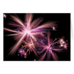 Burst of Pink Abstract Fractal Art Greeting Card