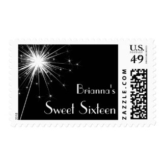 Burst of Sparkles Sweet 16 Stamp (black)