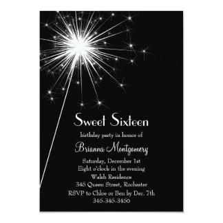 Burst of Sparkles Sweet Sixteen Invitation (black)