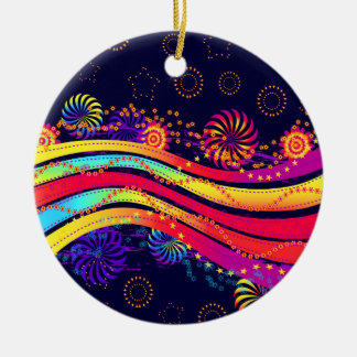 Burst Of Stars Circles And Colorful Streamers Ceramic Ornament