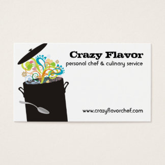 Bursting aromas cooking pot chef business cards