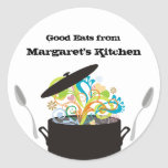 Bursting aromas cooking pot food gift tag sticker