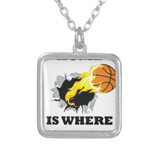 bursting bball4 silver plated necklace