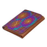 Bursting Flowers Abstract Art Leather Wallet