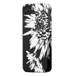 Bursting Joy l Black and White Floral Abstract iPhone 4 Case-Mate Cases