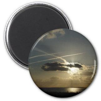Bursting white sunset 2 inch round magnet