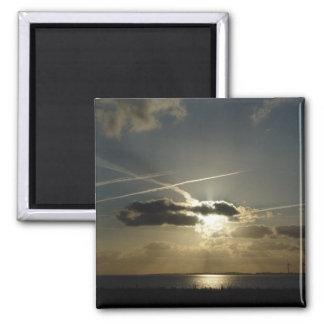Bursting white sunset 2 inch square magnet