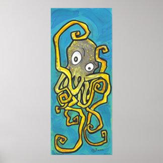 Burt yellow Cartoon Octopus lowbrow art print