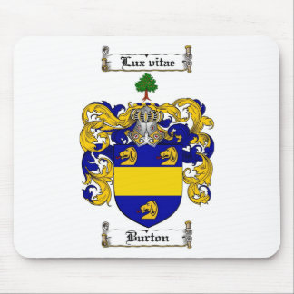 BURTON FAMILY CREST -  BURTON COAT OF ARMS MOUSE PAD