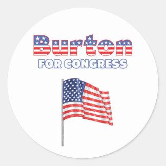 Burton para la bandera americana patriótica del co pegatina