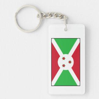 Burundi - bandera burundesa llavero rectangular acrílico a doble cara