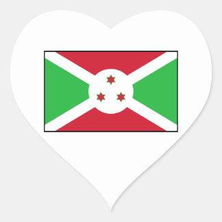 Burundi - bandera burundesa pegatina en forma de corazón