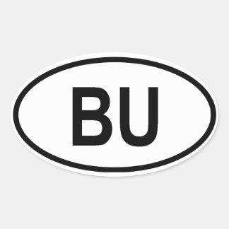 """Burundi """"BU """" Pegatina Ovalada"""
