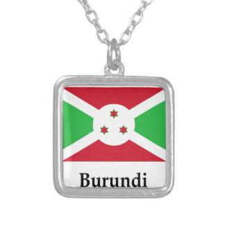 Burundi Flag And Name Square Pendant Necklace