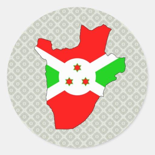 Burundi Flag Map full size Stickers