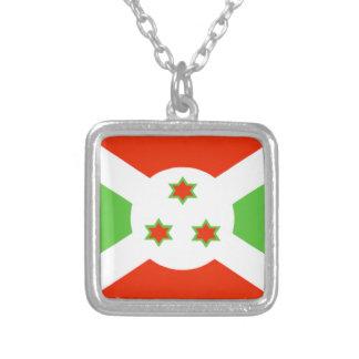 Burundi Flag Square Pendant Necklace