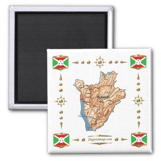 Burundi Map + Flags Magnet