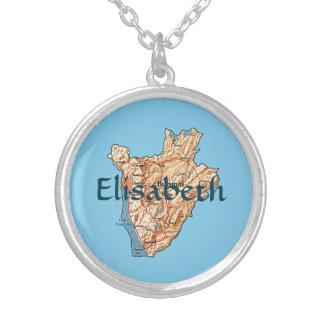 Burundi Map + Name Necklace